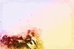 Het spelen Gitaar in de voorgrond op Waterverf het schilderen achtergrond en Digitale illustratieborstel aan art. Stock Foto