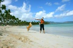 Het spelen in het strand Stock Fotografie