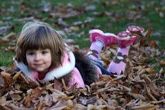 Het spelen met bladeren Royalty-vrije Stock Afbeelding