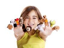 Het spelen met handpoppen Royalty-vrije Stock Foto's