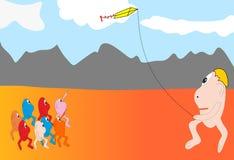 Het spelen met vlieger. Royalty-vrije Stock Afbeeldingen