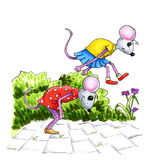 Het spelen muis childs Stock Foto's