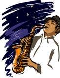 Het spelen saxofoon Stock Foto's
