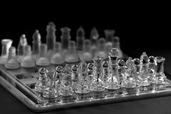 Het spelen schaak in glas Royalty-vrije Stock Foto