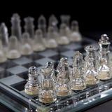 Het spelen schaak in glas Stock Fotografie