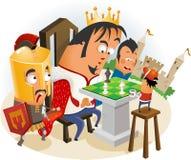 Het spelen Schaak met Koning Stock Afbeelding