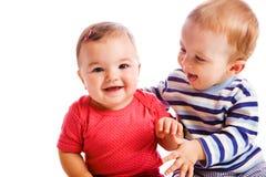 Het spelen van babys Stock Afbeeldingen