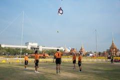 Het spelen van Cirkel Takraw Stock Foto's