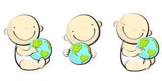 Het spelen van de baby met globus - 1 Stock Afbeeldingen