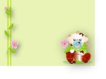 Het spelen van de baby met land van een bloempot vector illustratie