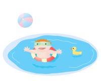 Het spelen van de baby in pool Stock Foto