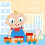 Het spelen van de baby stuk speelgoed royalty-vrije illustratie
