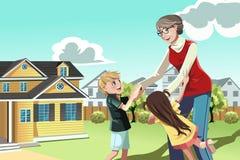 Het spelen van de grootmoeder met kleinkinderen royalty-vrije illustratie