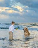 Het spelen van de jongen bal met zijn hond Stock Afbeelding