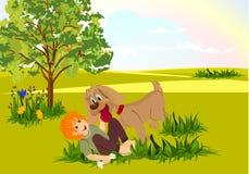 Het spelen van de jongen en van de hond Stock Foto's