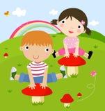 Het spelen van de jongen en van het meisje vector illustratie