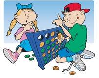 Het spelen van de jongen en van het meisje Stock Foto