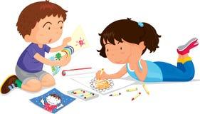 Het spelen van de jongen en van het meisje stock illustratie