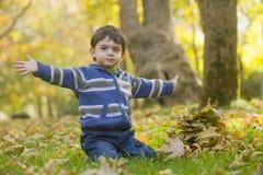 Het spelen van de jongen in het park Royalty-vrije Stock Afbeeldingen