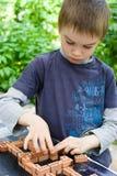 Het spelen van de jongen met bakstenen Stock Foto's