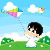 Het spelen van de jongen met een vlieger vector illustratie
