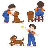 Het Spelen van de jongen met Hond vector illustratie
