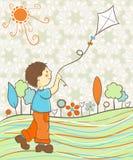 Het spelen van de jongen met vlieger Stock Afbeelding