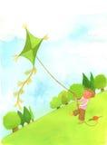 Het spelen van de jongen met vlieger bij het strand Royalty-vrije Stock Afbeeldingen