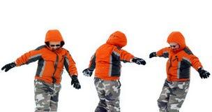 Het Spelen van de jongen in Sneeuw Stock Fotografie