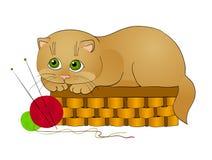 Het spelen van de kat, beeldverhaal Stock Fotografie