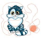 Het spelen van de kat met bal van garen Royalty-vrije Stock Foto's