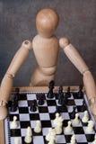 Het spelen van de ledenpop schaak Stock Fotografie