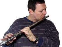 Het spelen van de mens fluit royalty-vrije stock foto