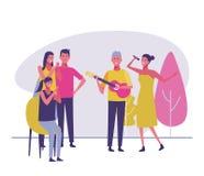 Het spelen van de musicus gitaar stock illustratie