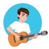 Het spelen van de musicus gitaar De Aziatische jongensgitarist wordt geïnspireerd om een klassiek muzikaal instrument te spelen C vector illustratie