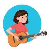Het spelen van de musicus gitaar De meisjesgitarist wordt geïnspireerd om een klassiek muzikaal instrument te spelen Vectorillust royalty-vrije illustratie