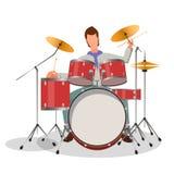 Het spelen van de musicus trommels royalty-vrije illustratie
