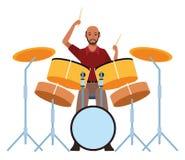 Het spelen van de musicus trommels vector illustratie