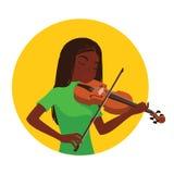Het spelen van de musicus viool De meisjesviolist wordt geïnspireerd om een klassiek muzikaal instrument te spelen vector illustratie