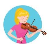 Het spelen van de musicus viool De meisjesviolist wordt geïnspireerd om een klassiek muzikaal instrument te spelen royalty-vrije illustratie