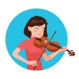 Het spelen van de musicus viool De meisjesviolist wordt geïnspireerd om een klassiek muzikaal instrument te spelen Vector stock illustratie