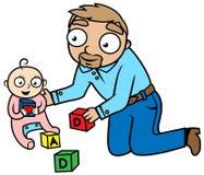 Het spelen van de papa met babymeisje, liefdeconcept Vector Illustratie