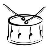 Het spelen van de trommel, trommel en trommelstokken vector illustratie