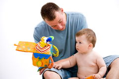 Het spelen van de vader en van de baby Stock Fotografie