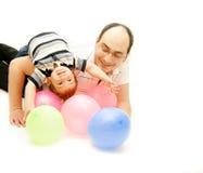 Het spelen van de vader en van de zoon Stock Fotografie