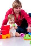 Het spelen van de vader met een kind Stock Foto