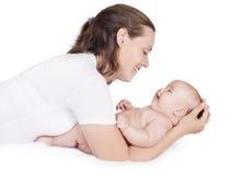 Het spelen van de vrouw met baby Stock Fotografie