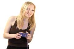 Het spelen van de vrouw videospelletjes Royalty-vrije Stock Foto