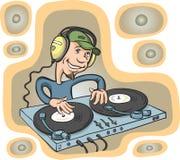 Het spelen van DJ op een dubbele draaischijf met hoofdtelefoons Stock Afbeelding