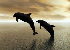 Het Spelen van dolfijnen royalty-vrije illustratie